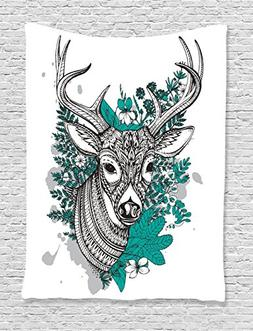 Ambesonne Antlers Decor Collection, Horned Deer with High De