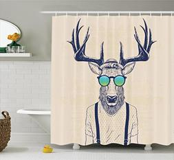 Antlers Decor Shower Curtain by Ambesonne, Illustration of D