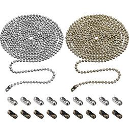 TecUnite 2 Pieces 3.2 mm Beaded Pull Chain Extension with Co