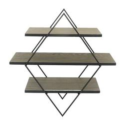 Donny Osmond Home Black Metal and Wood Diamond Wall Shelf