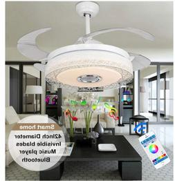 Bluetooth Remote Control Music Ceiling Fan Chandelier LED In