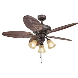 Kichler Bronze 52 inch Ceiling Fan with 3-light Kit With Lea