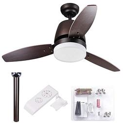 "Yescom 42"" Bronze Ceiling Fan with LED Light and Remote Cont"