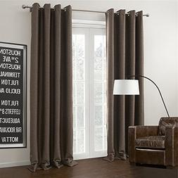 IYUEGO Brown Curtain Solid Grommet Top Blackout Curtain Drap