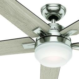 """Hunter 54"""" Brushed Nickel Contemporary Ceiling Fan with Case"""