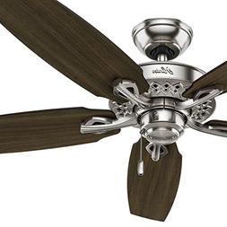 """Hunter 52"""" Brushed Nickel Finish Traditional Ceiling Fan wit"""