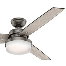 "Hunter Fan 52"" Brushed Slate Contemporary Ceiling Fan with L"