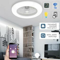 BT Smart LED Ceiling Fan Light Remote Control Bedroom Living