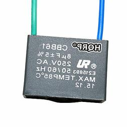 Capacitor for Harbor Breeze Ceiling Fan 8uf 2-Wire CBB61 Rep