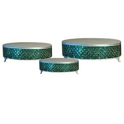 Casa Cortes Handcrafted Turquoise Mosaic 3-Piece Cake Stand