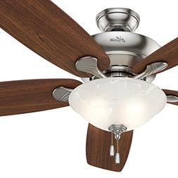 "Hunter Fan 60"" Ceiling Fan in Brushed Nickel with Swirled Ma"