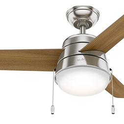 Hunter 36 in. Ceiling Fan in Brushed Nickel with LED Light K