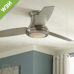 "52"" Ceiling Fan with Light Kit and Remote Brushed Nickel Flu"