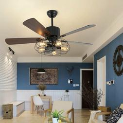 Ceiling Fan 52 Inch Rustic Edison Industrial With Cage Light