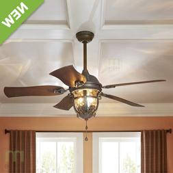 "52"" Ceiling Fan Light Kit Reversible Blade Indoor Outdoor Do"