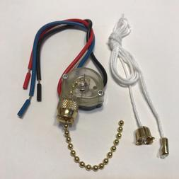 "Ceiling Fan Pull Chain Switch Brass 3 Speed with 6"" Lead MPI"