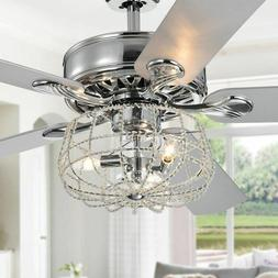 ceiling fan with lights cage chandelier crystal