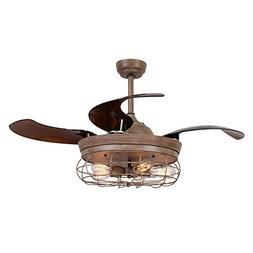 Parrot Uncle Ceiling Fan with Light 46 Inch Industrial Ceili