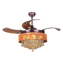 "Parrot Uncle Ceiling Fans with Lights 42"" Modern Brown Ceili"
