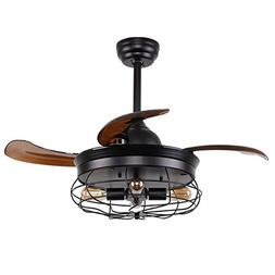 Parrot Uncle Ceiling Fans with Lights 36'' Vintage Farmhouse