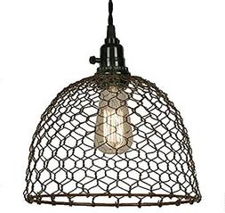 Chicken Wire Dome Pendant Light In Primitive Rust ..#from-by