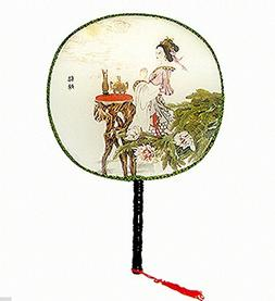 Multicolor Chinese Traditional Paint Hand Fan Bamboo Shape H