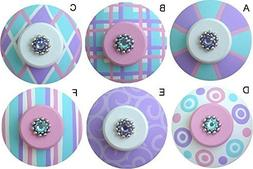 Colorful Hand Painted Decorative Pink Aqua and Purple Abstra