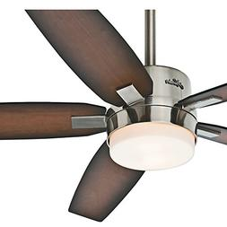 """Hunter 54"""" Contemporary Brushed Nickel Ceiling Fan with Ligh"""