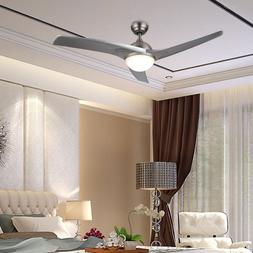 """52"""" Modern Ceiling Fan with LED Panel Light& Remote Silver C"""