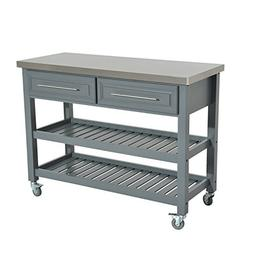 """HomCom 47"""" 3 Tier Grey Rolling Kitchen Cart With Stainless"""