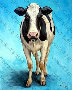 Cow Art Print, Holstein Cow Standing on Light Blue, Dairy Co