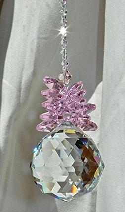 Crystal Ball Pineapple Pink Rose Suncatcher, Baby Girl Showe