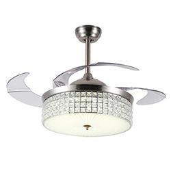 LUOLAX 42 Inch Crystal Ceiling Fan with Lights, 4 Retractabl