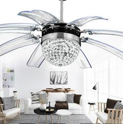 "42"" Crystal Ceiling Fan Light Chandelier LED Invisible Blade"