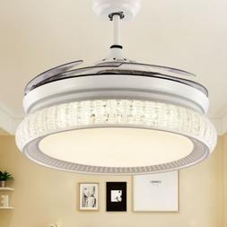 Crystal Ceiling Fan with Lights Retractable Blades Remote Co