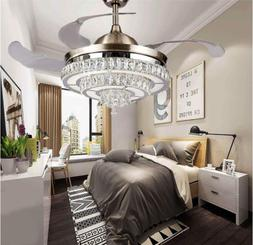 Crystal Ceiling Fans Chandelier with Lights and Remote Contr