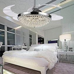 COLORLED Crystal LED Ceiling Fans Light-42 Inch With Transpa