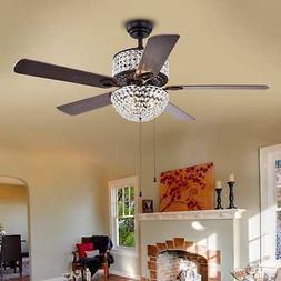Crystal Chandelier Ceiling Fan 52in 4 Blade 3 Light Wood Bla