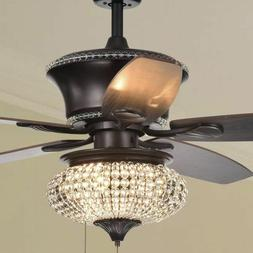 Crystal Chandelier Ceiling Fan Light Fixture Kit with Pull C
