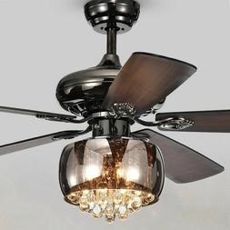 Crystal Chandelier Ceiling Fan Light Fixture with Remote Kit
