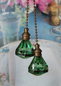 Set of 2 Crystal Green Diamond Ceiling Fan Pull with Bronze