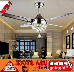 Crystal Modern 44 inch Ceiling Fan Lamp LED 3 Changing Light