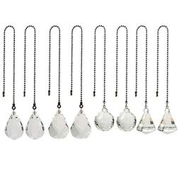 8 Pcs Crystal Prisms Charm Pendant Ceiling Fan Pull Chain Ex
