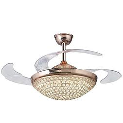 """42"""" Crystal Round Crystal Bowl Ceiling Fans 4 Acrylic Invisi"""
