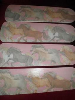 CUSTOM ~CEILING FAN  MAJESTIC RUNNING HORSES on PINK DREAMY