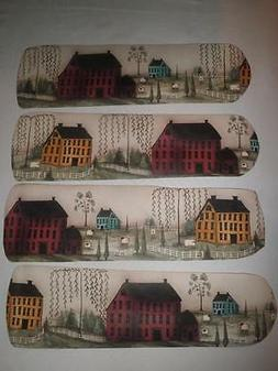 CUSTOM  ~ ~ PRIMITIVE COUNTRY HOUSES & SHEEP CEILING FAN WIT