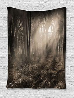 Dark Tapestry Gothic Decor by Ambesonne, Photo of Dark Fores