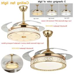 """Dimmable 42"""" Invisible Ceiling Fan Lamp Bluetooth Speaker Le"""