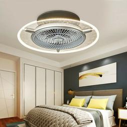 Modern Ceiling Fan With Light kit Remote Control LED Round L