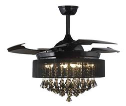 42 Inches Drum Black Shade Pendant Lamp Clear Retractable In